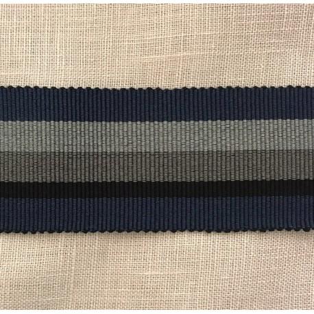 Striped Gros Grain Bayadère Ribbon Panama, col. Navy, Night, Slate, Steel 279
