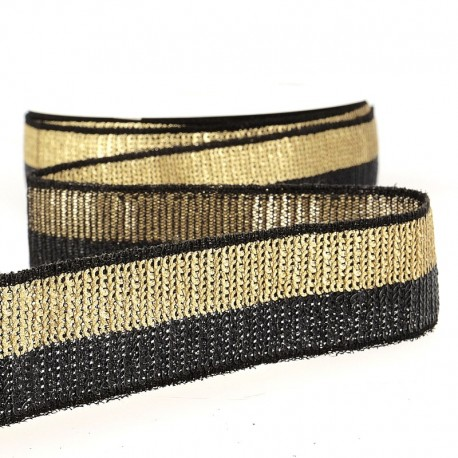 Bicolor Sequin Ribbon, col. Black/ Light Gold