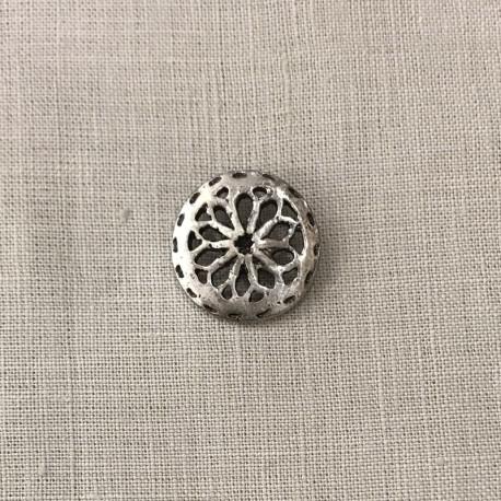 Metal Button Rosette, col. Silver