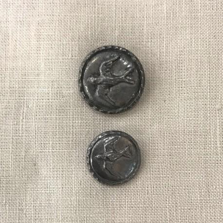 Metal Button Spring Swallow, col. Meteorite