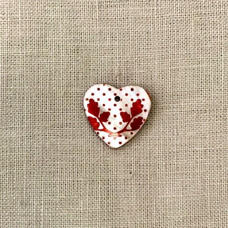Engraved and Enamelled Mother of Pearl Heart Medal Holly, Col. Natural/ Cherry