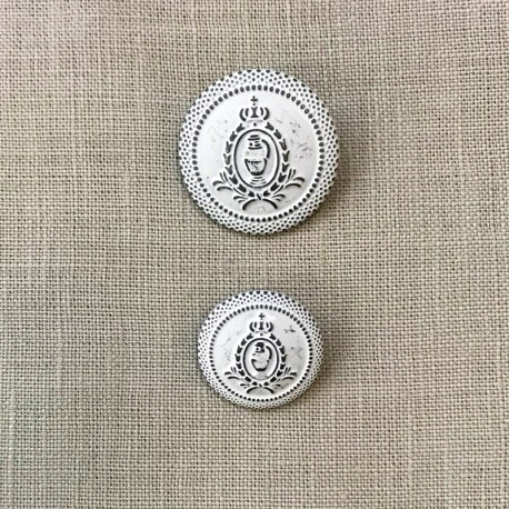 Médaillion Metal Button, col. White Lasure