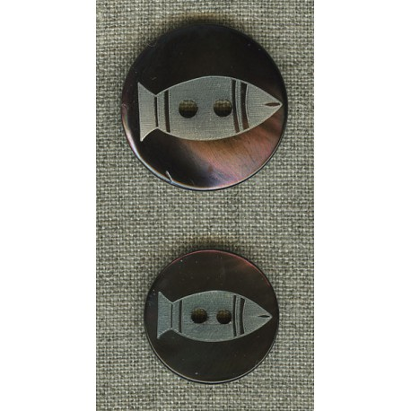 Ebony mother-of-pearl with fish engraving