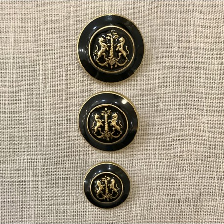 Metal Enamelled Button James, Col. Black/ Gold