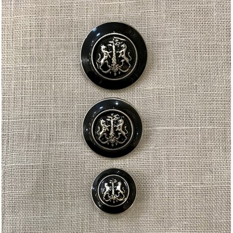 Metal Enamelled Button James, Col. Black/ Silver
