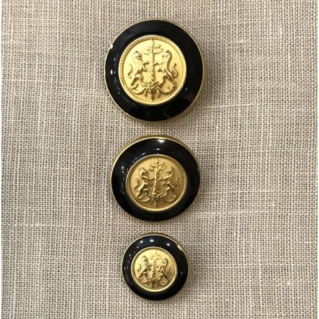 Enamelled Metal Button James, col. Gold/ Black