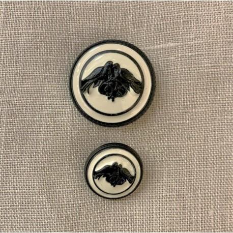 Metal Enamelled Button Deux Amours, Col. Black/ Vanilla