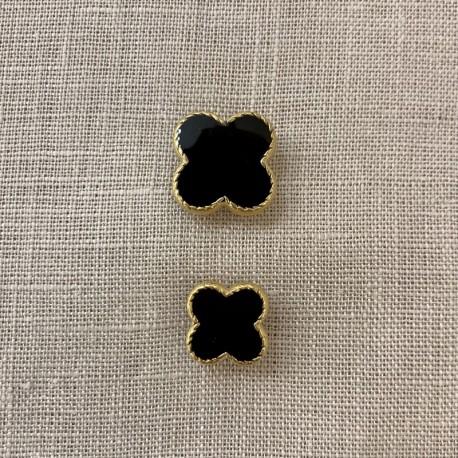 Enamelled Metal Button Clover Rue de La Paix, col. Black/ Gold