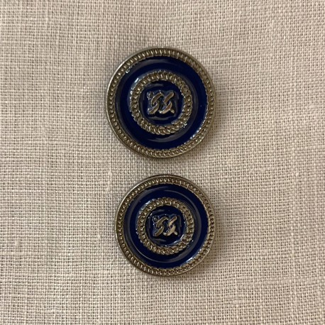 Metal Enamelled Button Link, Col. Navy/ Silver