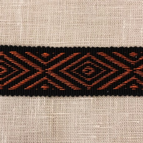 Jacquard Ribbon Navette, col. Black / Tangerine