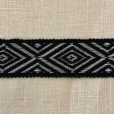 Jacquard Ribbon Navette, col. Black / Almost White