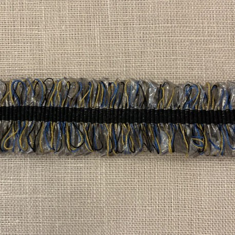 Trimmed Raphia and Grosgrain Ribbon, col.Black/ Smoke