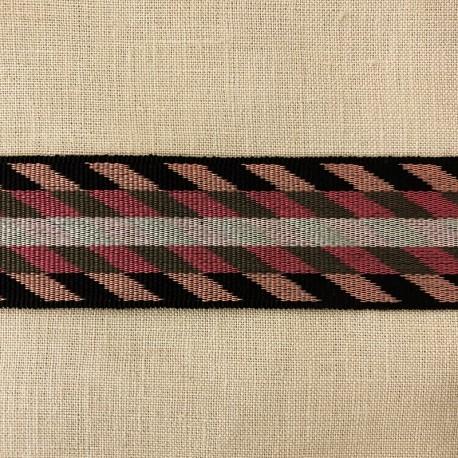 Striped Gros Grain Bayadere Ribbon Bogota, col. Black, Fadded Rose, Heather