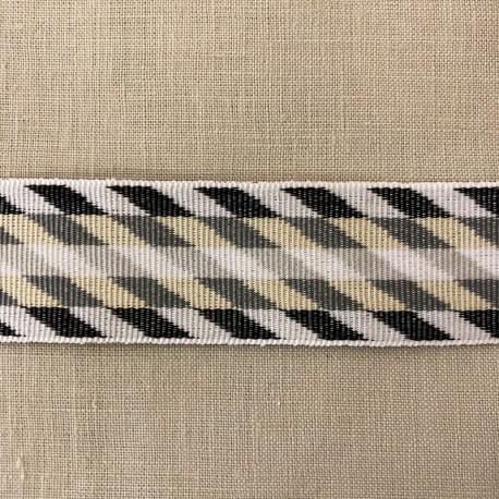 Striped Gros Grain Bayadere Ribbon Bogota, col. Dark grey, Vanilla, White