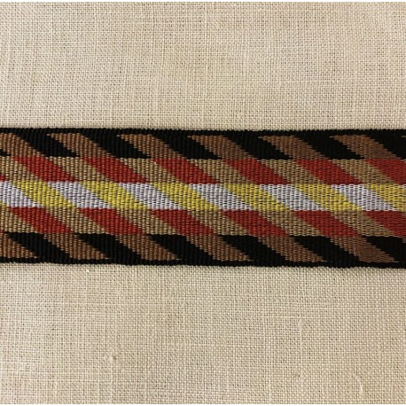 Striped Gros Grain Bayadere Ribbon Bogota, col. Black, Havana, saffron