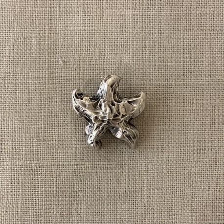 Metal Button Starfish, col. Silver