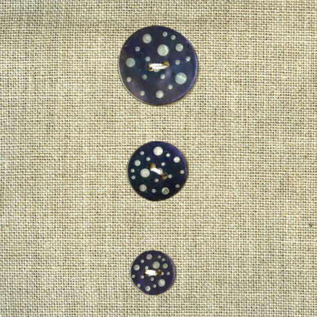 Engraved Bubbles mother-of-pearl button,  Slate blue