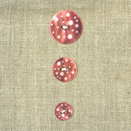 Engraved Bubbles mother-of-pearl button, Salmon