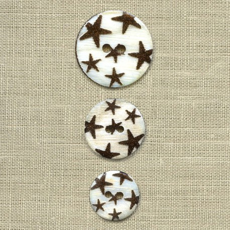 Engraved mother-of-pearl button Rain of stars, col. Spangled chocolate