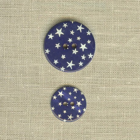 Engraved mother-of-pearl button Starry night, col. Blue night