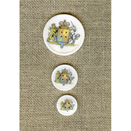 Printed mother-of-pearl button Royal coat of arms