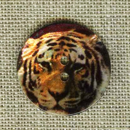 Printed mother-of-pearl button Tiger