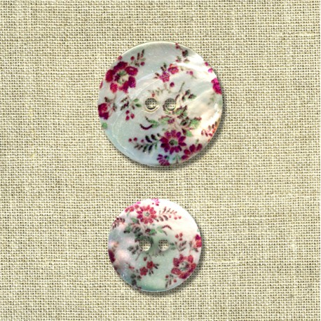 Printed mother-of-pearl button Wild Flowers