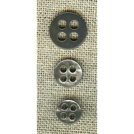 Bouton en nacre simple 4 trous ronds, col. Gris perle