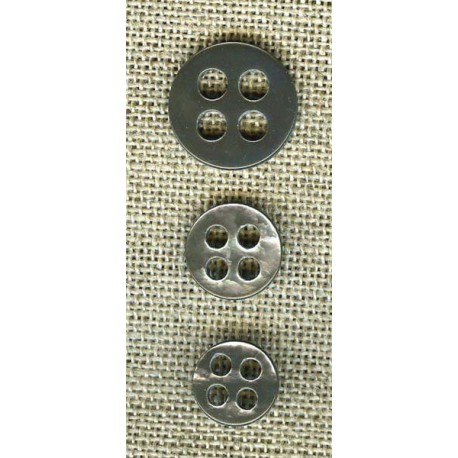 Mother-of-pearl button classic 4 round spaced out holes, col. Pearl grey