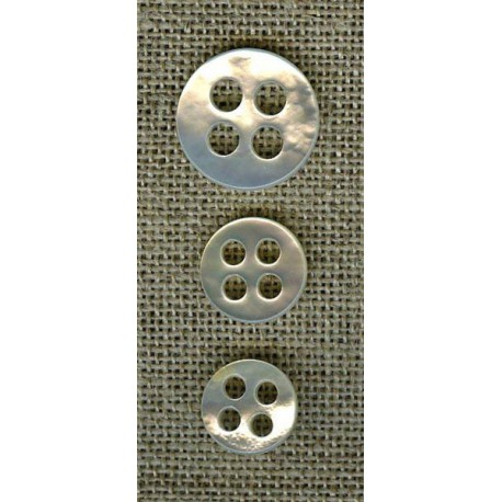 Mother-of-pearl classic button 4 round spaced out holes, col. Frost