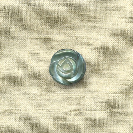 Rose mother-of-pearl button, col. Jade