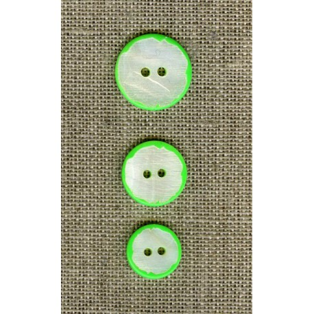 Natural mother-of-pearl button board Fluo, col. Limonana