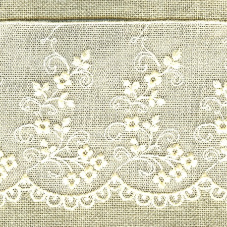 Embroidery on tulle ribbon, Ivory