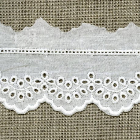 Ruban Broderie anglaise blanche Laura