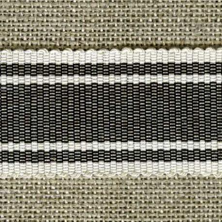 Wafer grosgrain ribbon, Carbon/Ivory 38