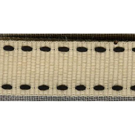 Ivory/Black 1 grosgrain ribbon with saddlestitch