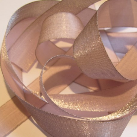 Iridescent taffeta ribbon, col. Angel's skin 3
