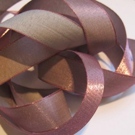 Iridescent taffeta ribbon, col. Turtledove 2