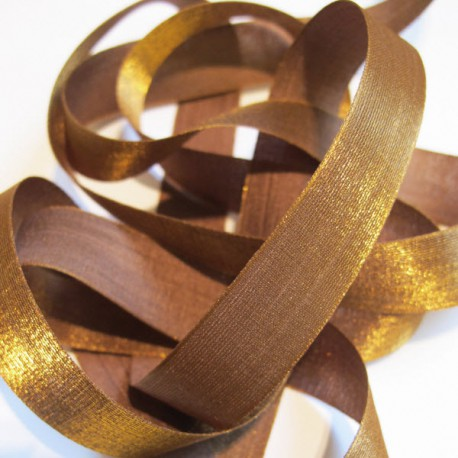 Iridescent taffeta ribbon, col. Chocolate 10