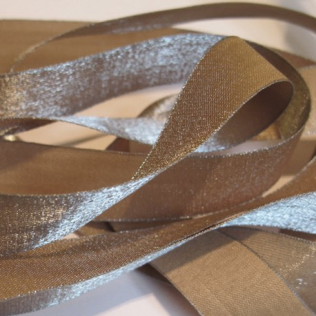 Iridescent taffeta ribbon, col. Dune 11