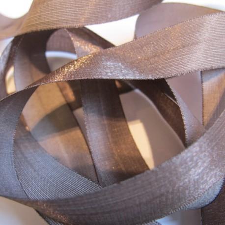Iridescent taffeta ribbon, col. Elephant 22