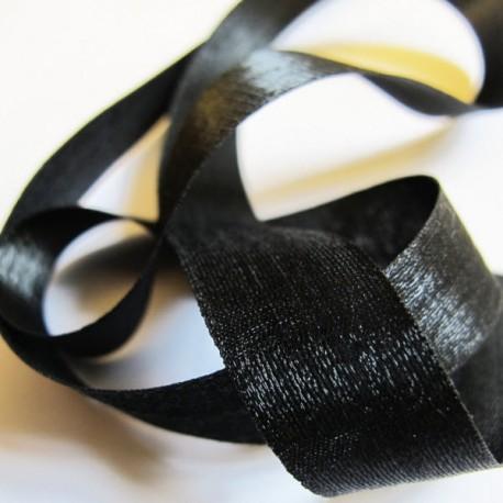 Iridescent taffeta ribbon, col. Black 20