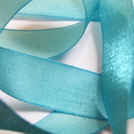 Iridescent taffeta ribbon, col. Azur 15