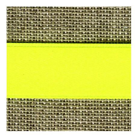 Fluo reversible satin ribbon, col. Yellow lemon