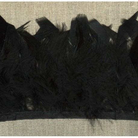 Strip of feathers Cabaret on satin ribbon, col. Black 14