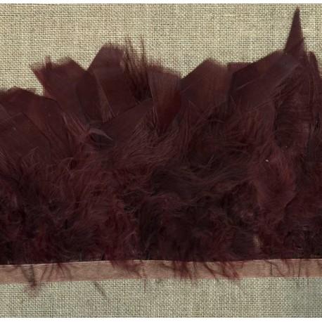 Strip of feathers Cabaret on satin ribbon, col. Mahogany 56