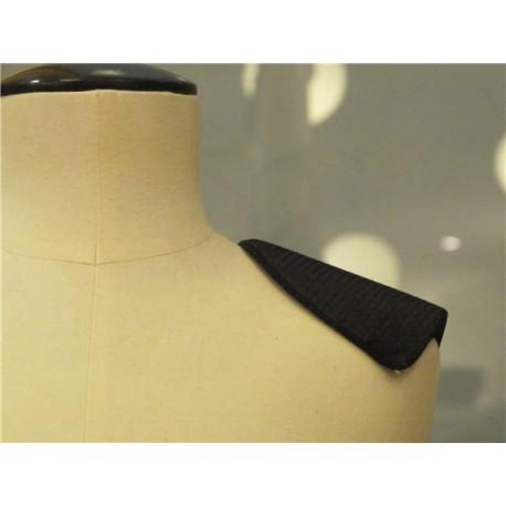 Epaulettes droites recouvertes col. Noir