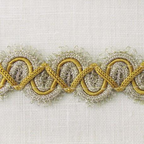 Grand Galon Rococo, col. Or pâle et Moutarde 42