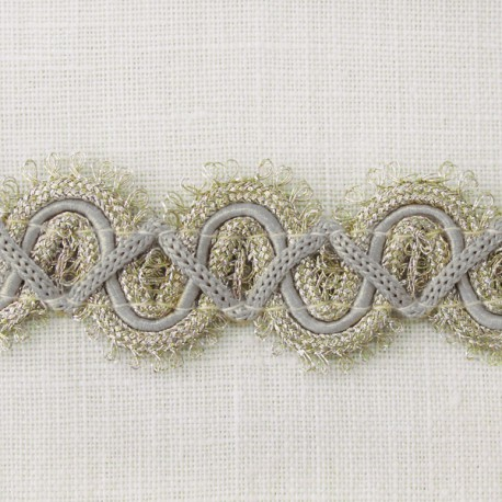 Grand Galon Rococo, col. Or pâle et gris perle 31