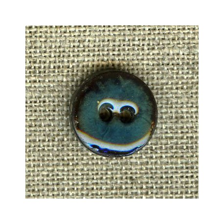 Enamelled little coconut button, col. Teal